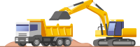 Graphic of construction site equipment